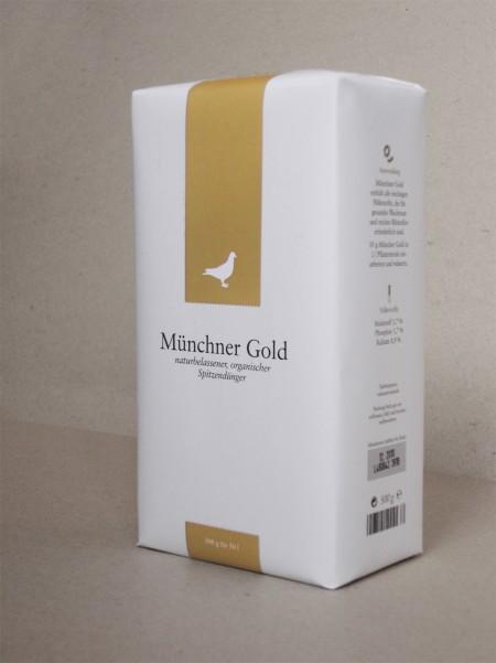 Münchner Gold Verpackung. Jedes [ku:] sammelt jährlich 870 kg Taubenkot, der als hochwertiger Dünger vermarktet wird.