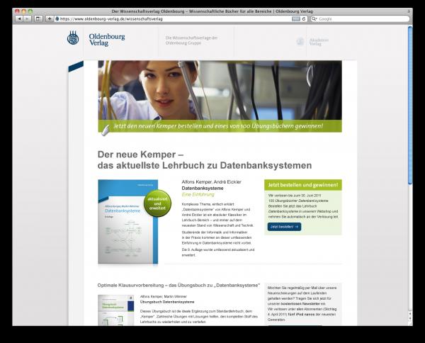 Oldenbourg Verlag Landingpage Kemper